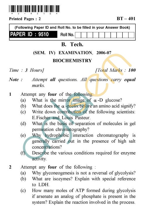 UPTU: B.Tech Question Papers -BT-401 - Biochemistry