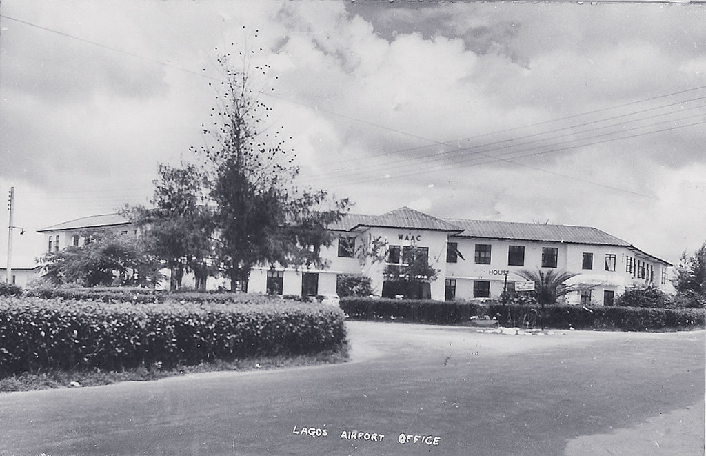 Scan of a postcard showing West African Airways Corporation's headquarters at Lagos Airport, 1961