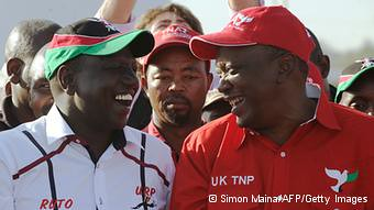 Uhuru Kenyatta in red is a contender for the presidency in the East African state of Kenya. Observers are concerned about the possibility of violence. by Pan-African News Wire File Photos