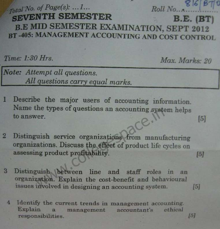 NSIT Question Papers 2012 – 7 Semester - Mid Sem - BT-405