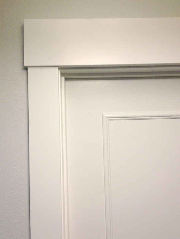 Lindsay drew add trim to a solid panel door for Door moulding