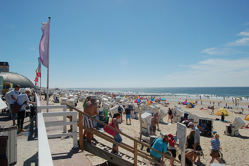 Das Panorama zeigt die Strandkörbe am Strand von Westerland