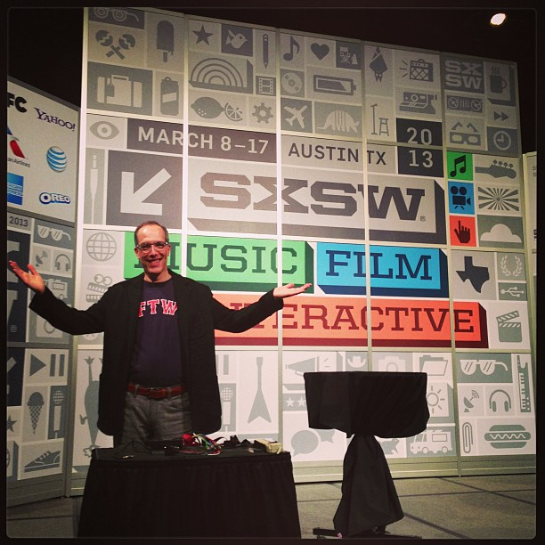 Moderating the #sxsw Bre Pettis Keynote at 2. :-)