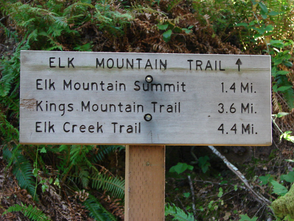 Trail sign for the Elk Mountian Trail