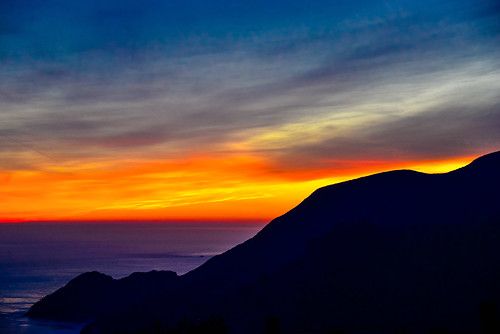 Orange and Purple Sunset over the Pacific Ocean with Marin Headlands - San Francisco California