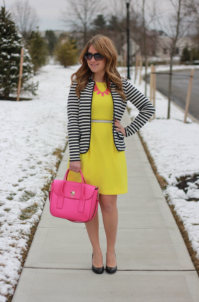 Yellow Dress and Striped Blazer Work Outfit