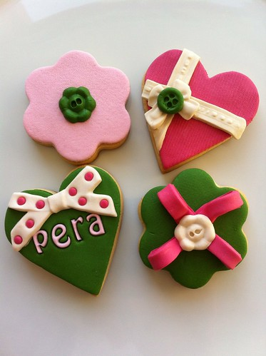 Fabric cookies, cookies, green-pink