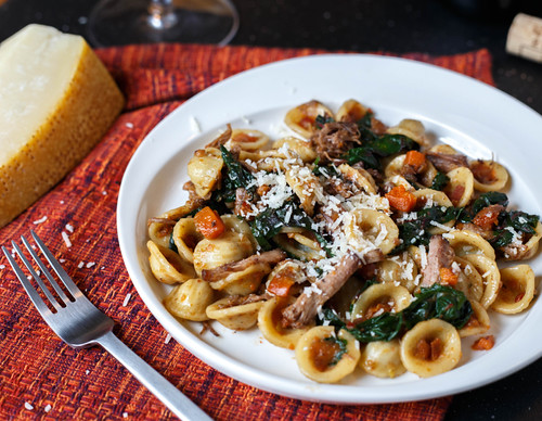 Orecchiette with Braised Short Ribs and Swiss Chard