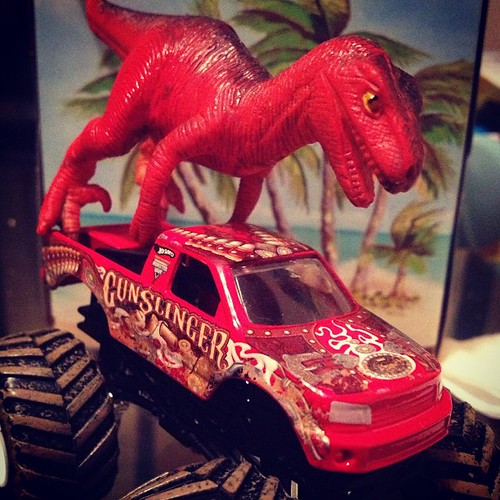 #Velociraptor makes a appearance! Don't all #dinosaurs ride monster trucks?? #toys