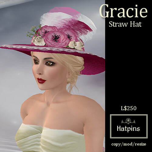 Hatpins - Gracie Straw Hat - Fuschia