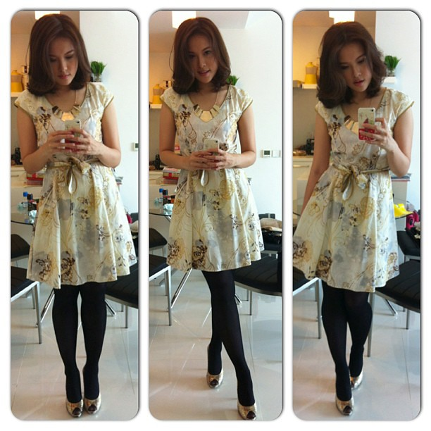 Ootd. Beautiful oriental floral print dress by Key Ng. Golden dalmation heels by Aldo. And statement gold necklace from Forever 21. #ootd #lookoftheday #lotd #outfit #fashion #keyng #aldo