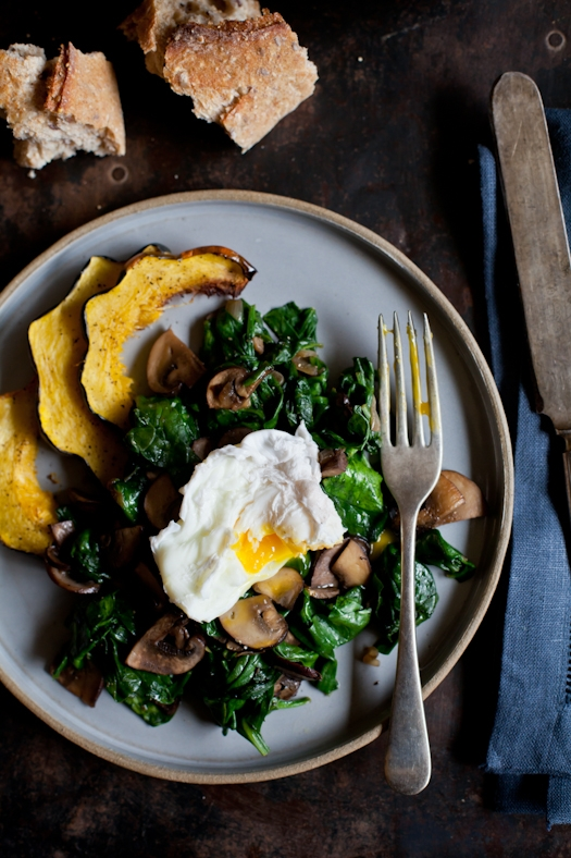 Poached Egg, Sauteed Spinach & Mushrooms