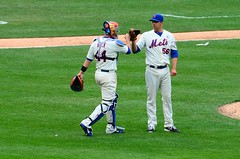 John Buck and Scott Rice after Mets Opening Day Victory