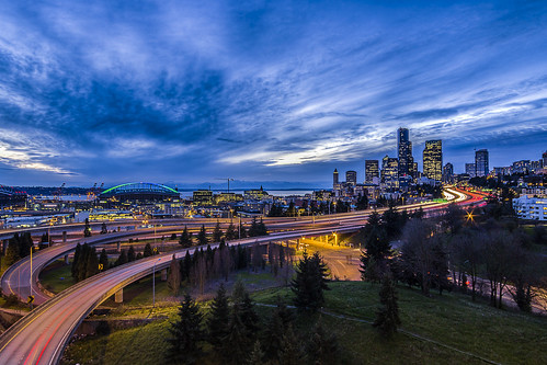 seattle park city longexposure bridge sunset skyline night clouds washington downtown cityscape traffic unitedstates i5 cloudy lighttrails rizal bluehour hdr doctorjoserizalpark