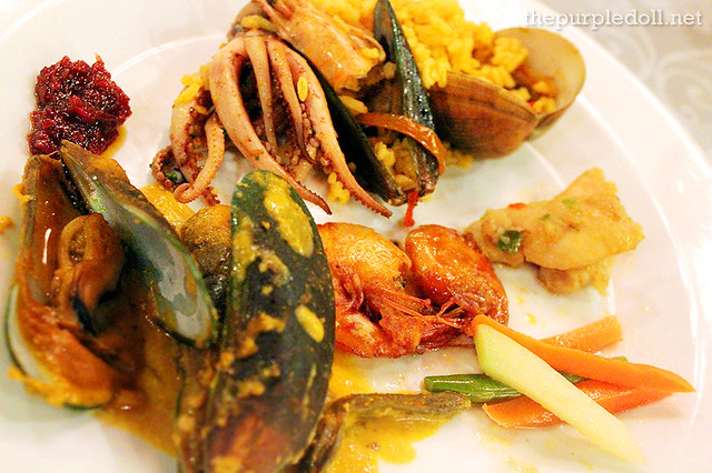 Seafood Kare-Kare, Seafood Paella Rice, Fish Fillet in Bell Pepper Adobado, Buttered Shrimp and Steamed Vegetables