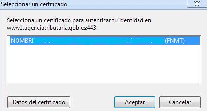 Seleccionar certificado digital