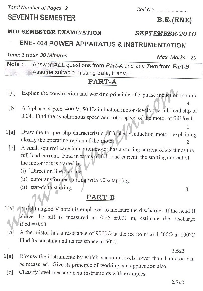 DTU Question Papers 2010 – 7 Semester - Mid Sem -  ENE-404