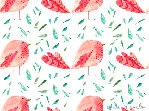 raspberry bird and leaves fabric