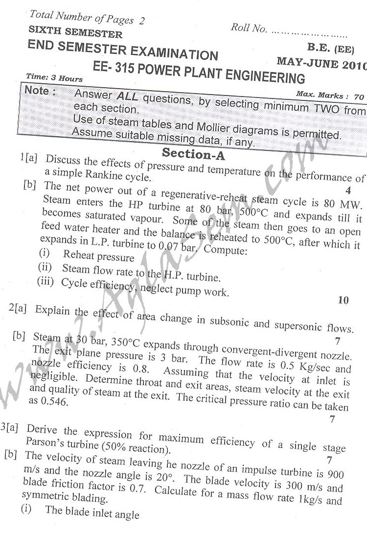 DTU Question Papers 2010 – 6 Semester - End Sem - EE-315