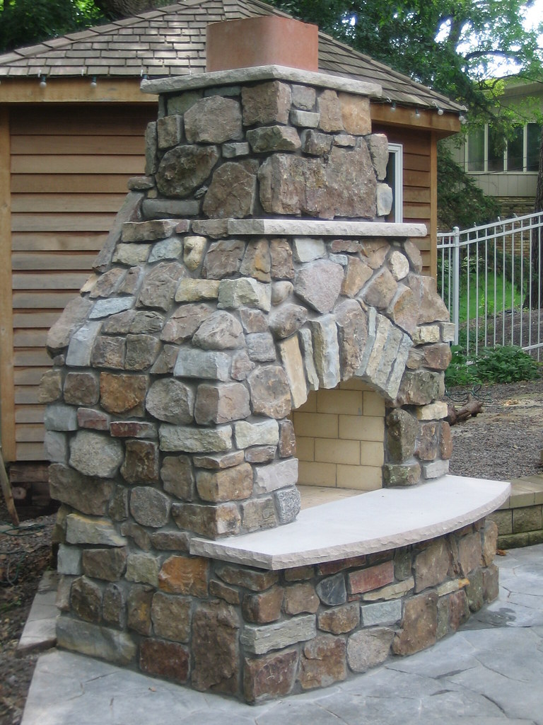 ... Rustic Stone Fireplace ...