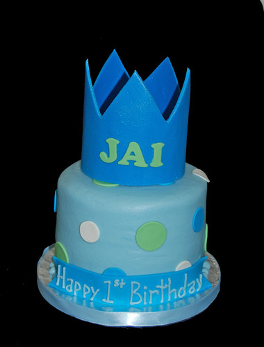 blue and green little prince 1st birthday cupcake tower