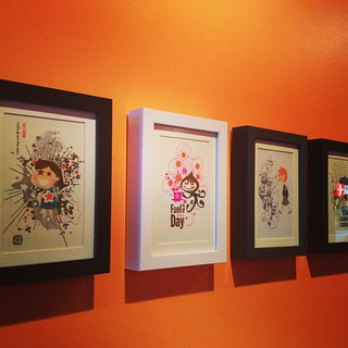 gocco prints displayed at Bento Café
