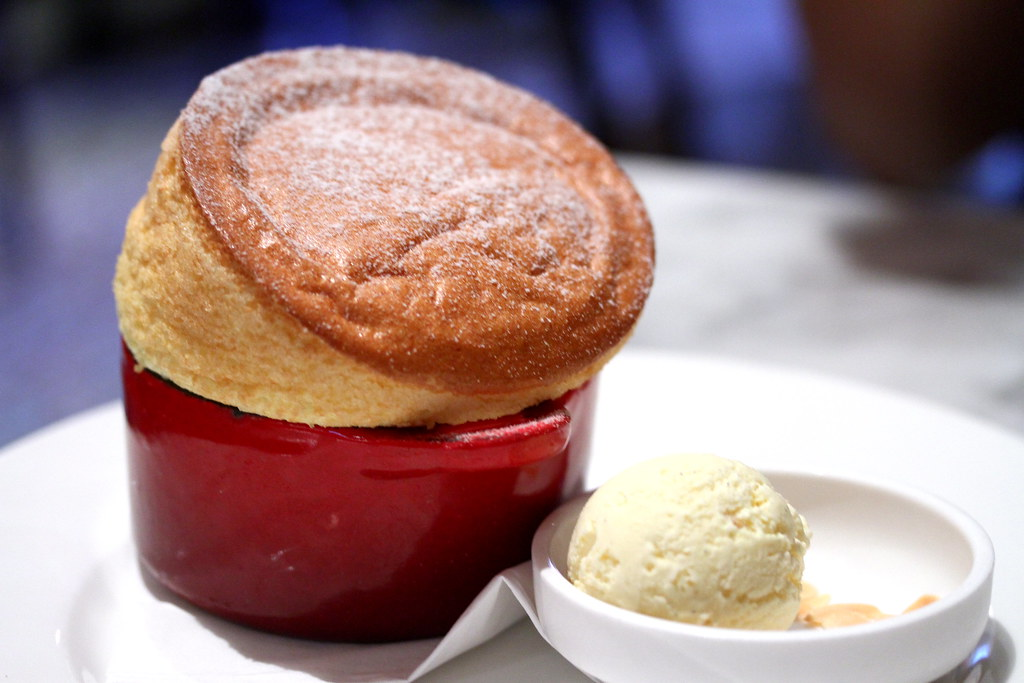 Bistro du Vin's Souffle au Grand Marnier with vanilla ice cream
