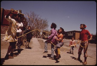 Black Children Play Outside The Ida B. Wells Homes, One Of Chicago's Oldest Housing Projects. There Are 1,652 Apartments Housing 5,920 Persons In 124 Buildings On The South Side, 05/1973