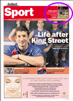 Age Sports section cover, later edition 27/4/2013