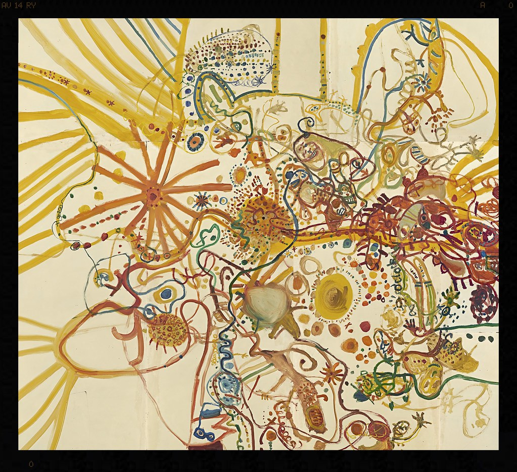 John Olsen born Australia 1928, Summer in the you beaut country 1962 oil on composition board (a-g) 393.4 x 431.0 cm (overall) National Gallery of Victoria, Melbourne Presented through The Art Foundation of Victoria by Mr Frank McDonald, Fellow, 1978 :cop