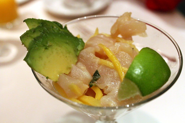 Red Snapper Mojito ceviche with mint, mango, avocado and a splash of Bicardi Superior rum