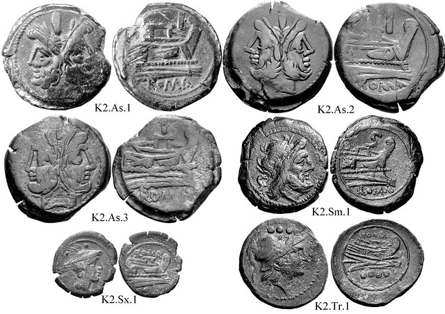 K2 Roman Republican Anonymous struck bronzes McCabe group K2, Related RRC 173 to RRC 213. Cartoon-style obverses, wild hair. Sometimes irregular curved prows. Flat deck structures. 30 gram As.
