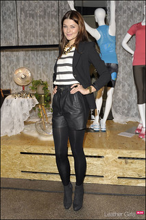 Janina Schmidt Leather Shorts Celebrity Style Women's Fashion