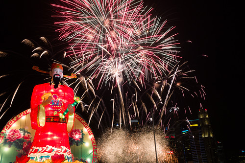 Fireworks over the god of fortune marking the launch of River Hongbao 2013