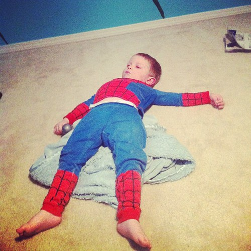 Tired spidey watching spidey