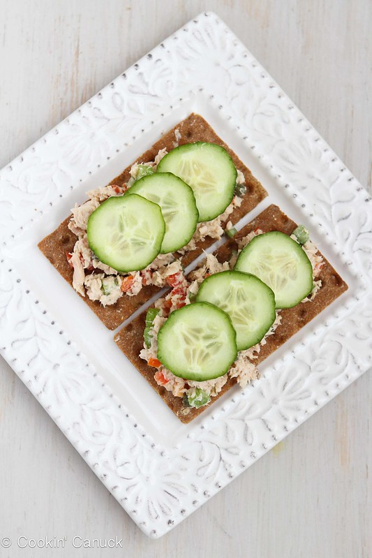 Low-Fat Salmon Salad Sandwich Recipe with Capers #lowfat #recipe