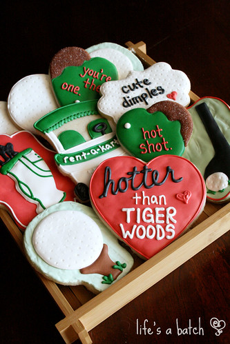 Golf Valentine cookies.
