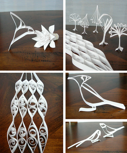 quilled white paper nature silhouette collage