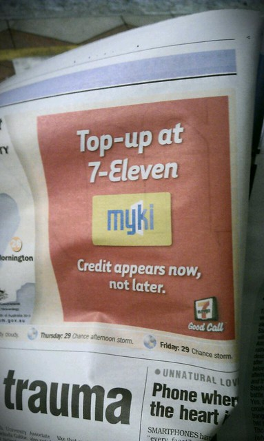 #Myki promo in @mxmelbourne talking up instant topup (no delay like online)