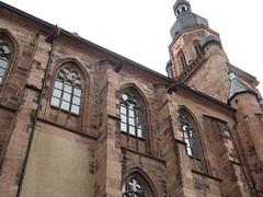 Marktplatz (main square) area in the Altstadt (old town) of Heidelberg, Germany