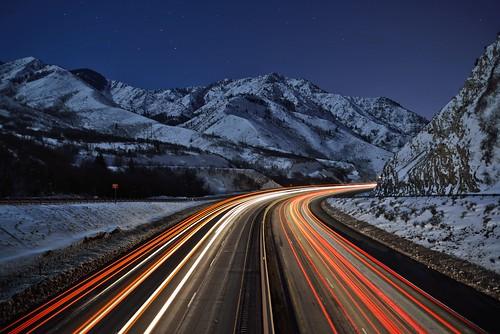 road longexposure winter snow cold night utah lighttrails february