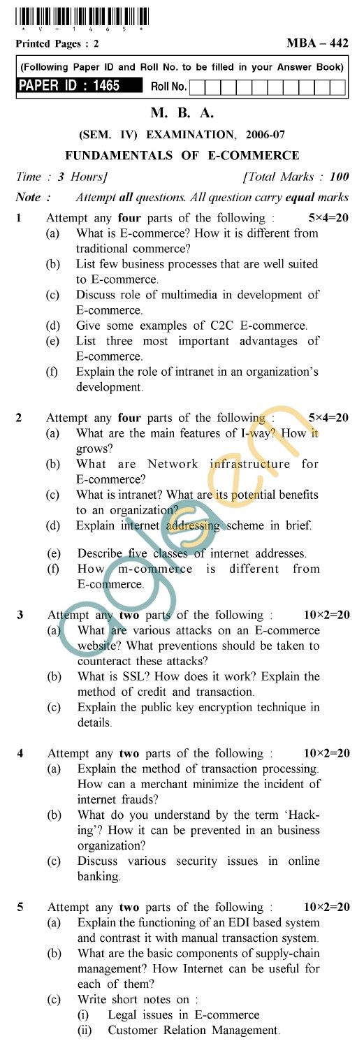 UPTU MBA Question Papers - MBA-442-Fundamentals of E-Commerce