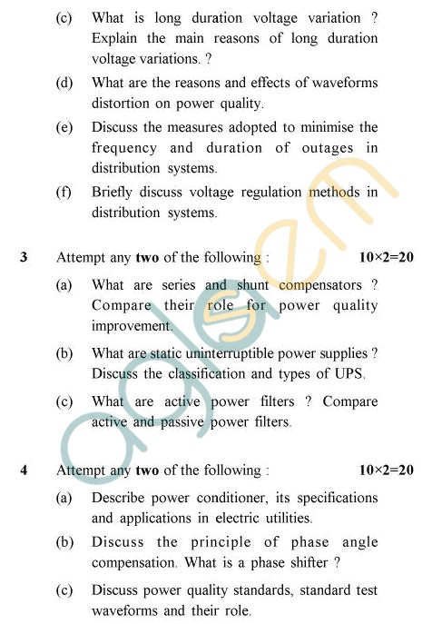 UPTU B.Tech Question Papers - EE-033 - Power Quality