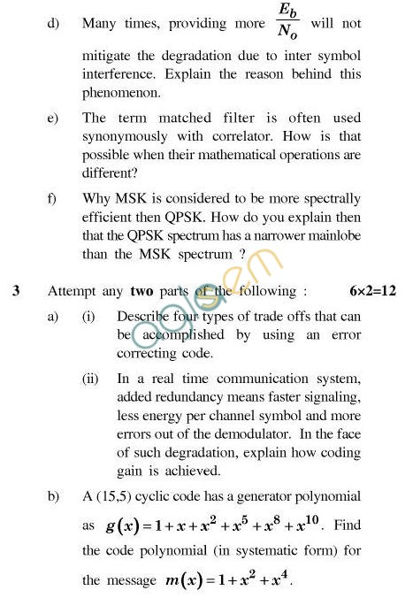 UPTU B.Tech Question Papers - CS-405-Fundamental of Computer Communication System