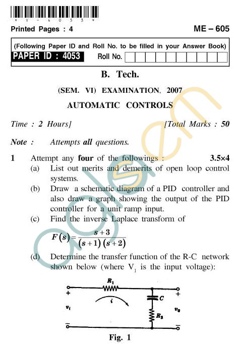 UPTU: B.Tech Question Papers - ME-605 - Automatic Controls