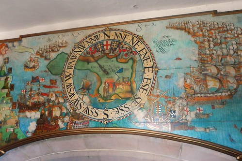Mural above fireplace in Entrance Hall of Lindisfarne Castle