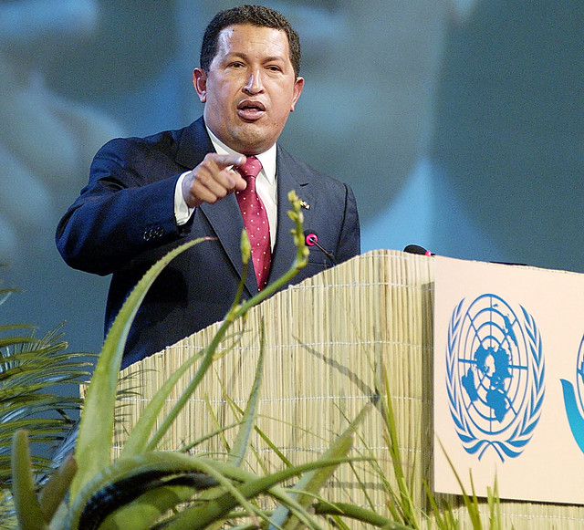 Na imagem, Hugo Chávez, Presidente da Venezuela, durante evento da ONU em 2002 na África do Sul. Foto: ONU/Eskinder Debebe.