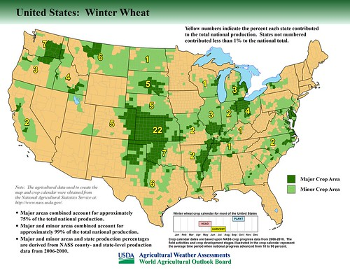 One of 40 new maps showing major crop-producing areas in the United States and other nations