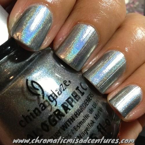 China Glaze Cosmic Dust. This is 2 coats! #chinaglaze #cosmicdust #hologlam #holo #holographic #nails  #nailporn #nailpolish #nailblogger #nailsofinstagram #iphonography #instagramhub #instagramers #iphoneonly #instanails #instadaily #iphonesia #instagood