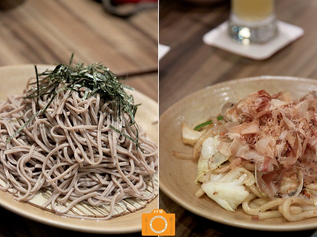 Watami Cold Soba and Stir Fried Udon with Seafood